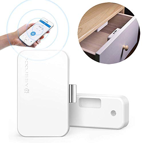 KOBWA File Cabinet Lock, Wireless Smart Drawer Security Lock, No Drill Keyless Invisible Child Safety Cabinet Locks for Home Office, Support Android/ IOS App Unlock, Authorized Electric Key (Best Office For Ios)