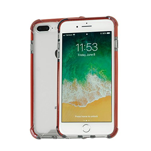 (Idea Promo Ultra Clear Case Compatible for iPhone 7 Plus | 7s Plus | 8 Plus, Shock-Absorption and Anti Scratch, Reinforced Conner Rubber Bumper Shockproof Protective (Dark Red))