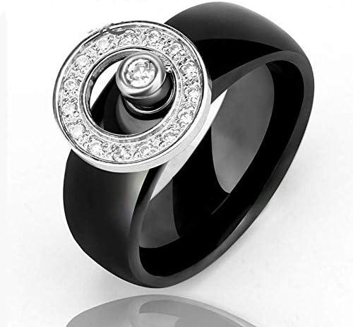 の灰のための骨壷 指ジャイロセラミックリングブラックカラー、サイズのリング10mmの男性の指輪ビッグサイズ天然石:8 ペットの灰 (Size : 7)