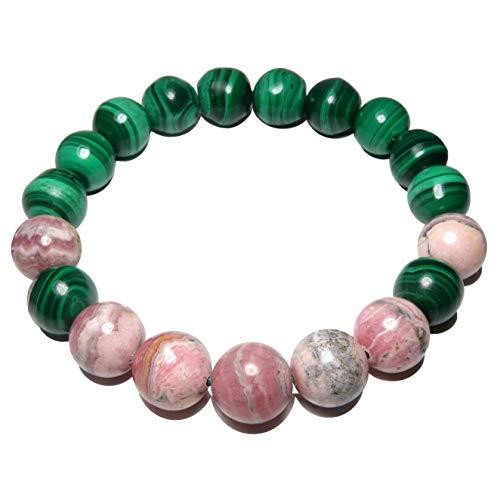 SatinCrystals Rhodochrosite Bracelet 9mm Boutique Malachite Pink Gemstone Round Stretch Handmade Power Stone Green B01 (7.25