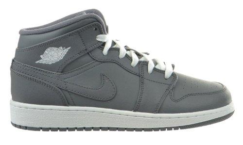 Jordan Nike Kids Air 1 MID (GS) Cool Grey/White/Cool Grey Basketball Shoe 6.5 Kids US (Air Jordan 1 Cool Grey)
