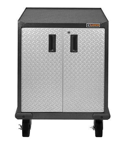 Gladiator Premier Series Pre-Assembled 35 in. H x 28 in. W x 25 in. D Steel 2-Door Rolling Garage Cabinet in Silver ()