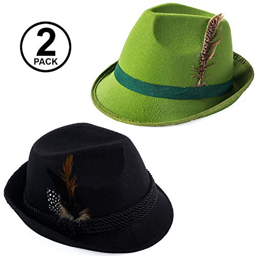 Tigerdoe Alpine Hat - German Hats - Alpine Hat with Feather - Green Tyrolean Hat - Bavarian Hat - Costume Hats (2 Pack Octoberfest -