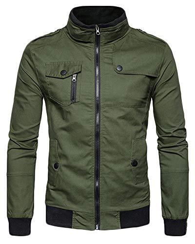 Pie De del ejército Abrigo Chaqueta Hombre para Bomber Verde QitunC Cremallera Collar Cazadora wxq1YXTTFP