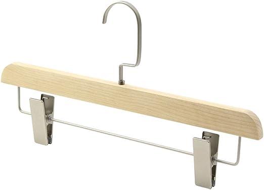 Percha Paquete de 10 perchas de madera Perchas con clips de metal ...