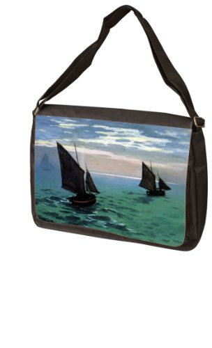 Le Havre - Exit The Fishing Boats from The Port by Claude Monet Laptop - Messenger Bag