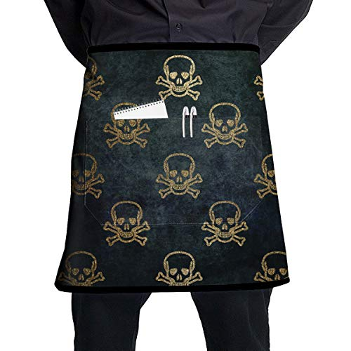 NBteach Scary Halloween Gold Glitter Skeleton Gothic Skull Utility Activity Toolbelt Work Best Mini Prime Supply Customize Half Waist Cooking Apron with Pockets for Kids Teacher