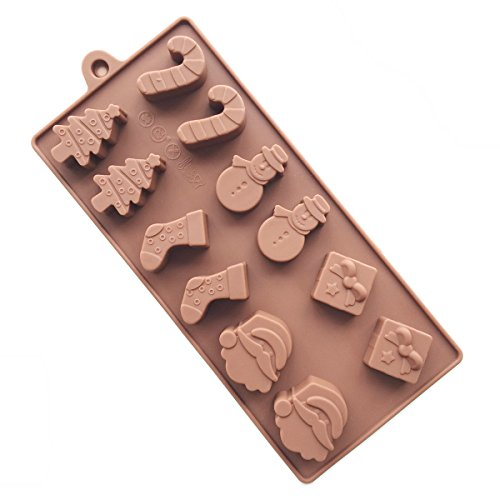 KAIL Silicone 12pcs Christmas Tree Stocking Santa Claus Gift Shape Print Ice Cube Chocolate Soap Candle Tray Cake Mold For Party