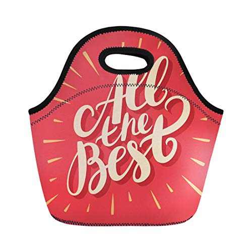 Semtomn Lunch Bags Exam Farewell All the Best Luck Good Greeting Birthday Neoprene Lunch Bag Lunchbox Tote Bag Portable Picnic Bag Cooler Bag (Best Of Luck Greetings For Exams)