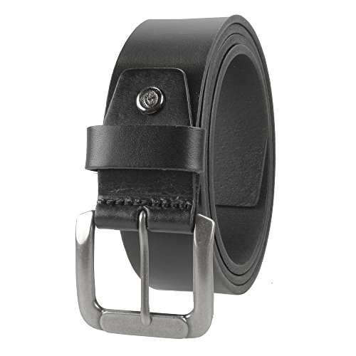 Gelante Mens Leather Belt - One Piece Top Grain Thick Heavy Duty 38001-Black-L