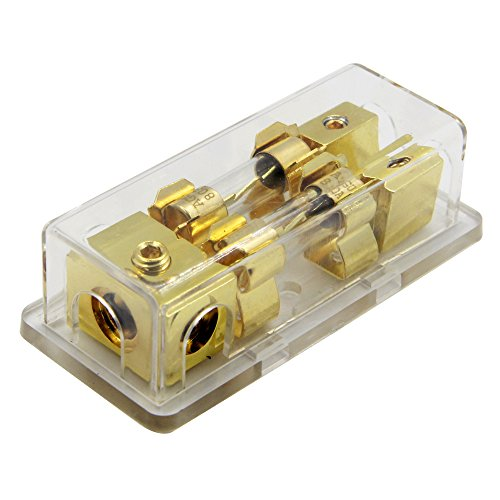 ZOOKOTO Power Distribution Block (2 - Way), 4/8 AWG Gauge AGU Fuse Holder Distribution Block 4 Gauge in to (2) 8 Gauge Out with 80A AGU Fuses -