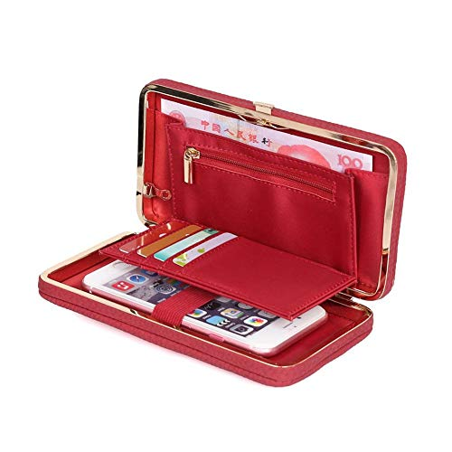 (Coopay Wallets for Women/Girls, Ladies Wallet Purse with Wrist Strap, PU Leather Woman Clutch Zipper Pocket Card Holder Organizer for iPhone XR X 8 7 6s Plus/Galaxy Note 9 8 S9 S8 Plus J3/ LG, Red)