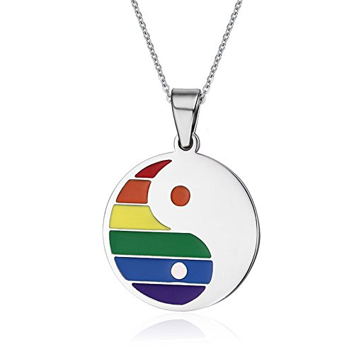 LF Stainless Steel Gay Pride Necklace Yin Yang Bagua Wedding Engagement Anniversary Gay Lesbian LGBT Rainbow Pride Pendant Necklaces with Gay Pride Flag -