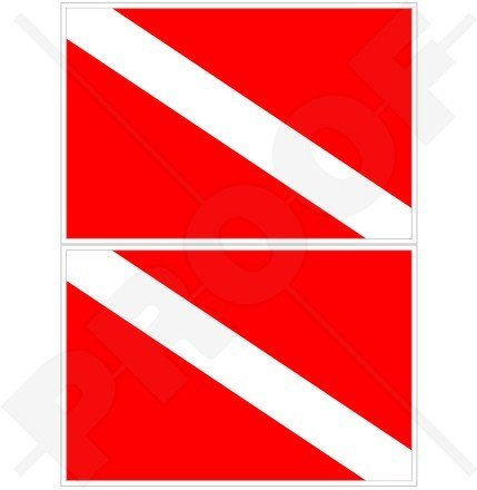 Diver Scuba Diving Bumper Sticker - SCUBA DIVING Flag DIVE DOWN Diver 4