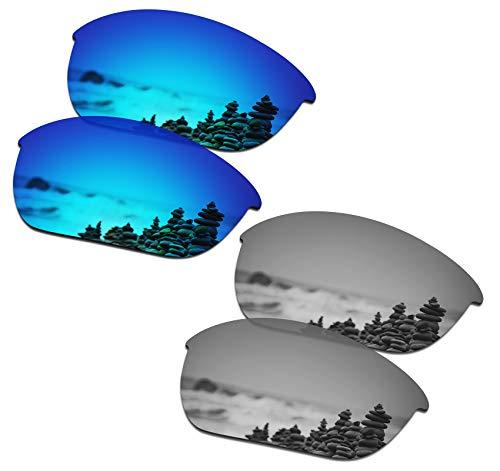 SmartVLT Men's Ice Blue&Silver Titanium Replacement Lenses for Oakley Half Jacket 2.0 OO9144 Sunglass (Titanium Replacement)