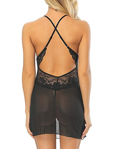 Kyson Women Lingerie Halter Chemise Lace Babydoll Mesh Nightwear V-Neck Sleepwear Sexy Slip Mini Teddy (Black, L) by Kyson (Image #4)