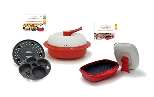 MICROHEARTH C11RC4-G03RS2 6-Piece Microwave Cookware Set with 4-Piece Everyday Combo Set and 2-Piece Grill Pan Set, Red