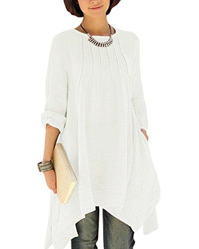 Femme Weiß Robe Longues Manches Uni Biubiu YFIqx