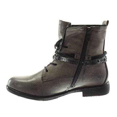 Boots Straps 2 Heel cm Biker Combat Seams Fashion Block Topstitching Studded Women's Angkorly Boots Multi Finish Booty Ankle 5 Shoes Soft Grey TwIURxqRP