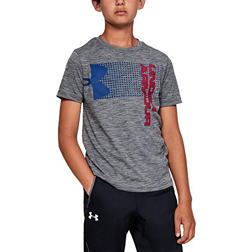 Under Armour Boys' Crossfade T-Shirt, Graphite (042)/Red, Youth Medium