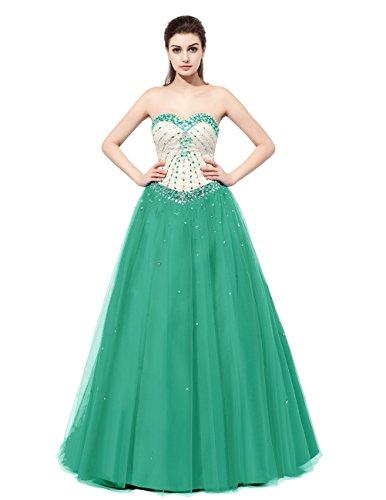 Dresstells®Vestido Mujer De Fiesta Cumplaños Tul Escote Corazón Con Cuentas Verde