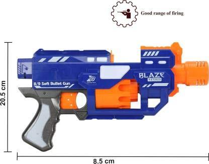 BACKGAMMON® Semi Automatic Battery Operated Super Blazer Gun with 20 Foam Bullets for Kids Guns & Darts (Blue)