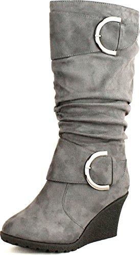 Moda Suede Heels (Top Moda Womens Pure-2 Buckle Slouch Wedge Boots,Grey,6)