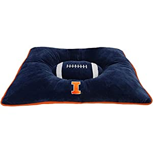 """NCAA PET BED - Illinois Fighting Illini """"Soft & Cozy"""" Plush Pillow Bed. - FOOTBALL DOG BED. Cuddle, Warm Collegiate Mattress BED for CATS & DOGS 60%OFF"""