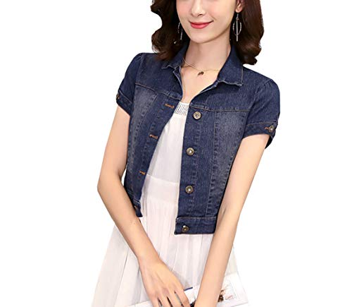 - Only Faith Women Short Sleeve Shawl Neck Denim Jacket Button Up Jean Short Coat (M)