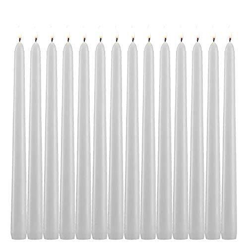 YIHANG White Taper Candles - Set of 14 Dripless Candles - 10 inch Tall, 3/4 inch Thick - 7.5 Hour Clean Burning ()