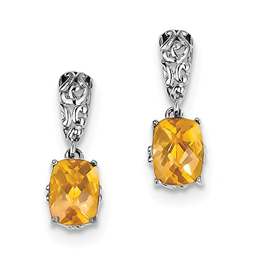 Sterling Silver Simulated Citrine Earrings (Approximate Measurements 19mm x 6mm)