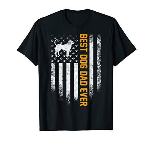 Vintage USA Best Pitbull Dog Dad Ever American Flag Funny T-Shirt ()