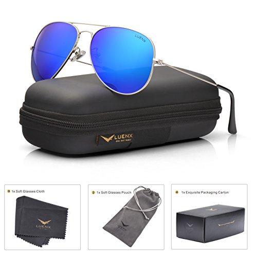 LUENX Men Women Aviator Sunglasses Polarized Mirrored Dark Blue Lens Silver Frame UV 400 60 MM with Accessories Classic Style