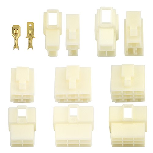 WGCD 25 Kits Car Motorcycle 6.3mm connector 2 3 4 6 9 Pin Way Electric Wire Connector Male Female Socket Plug Terminal (5 Size Kit)