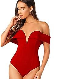 WDIRARA Women's Elegant Sweetheart Backless Skinny Solid Sexy Bodysuit