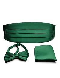 PenSee Formal Solid Pre-tied Bow Tie & Pocket Square & Cummerbund Set-13 Colors
