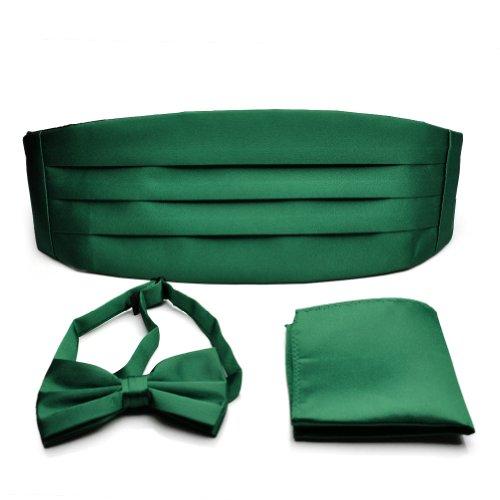 PenSee Mens Formal Solid Pre-tied Bow Tie & Pocket Square & Cummerbund Set - Various Colors ()