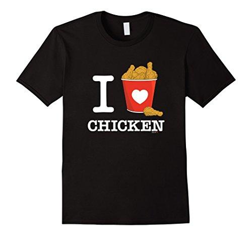 Chicken White T-shirt (Mens I Love Chicken T-Shirt White, Fried Chicken Heart Bucket Medium Black)