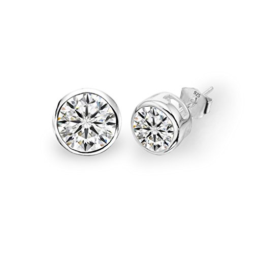 EVER FAITH 925 Sterling Silver Round Cut CZ Simple 6MM Basket Set Stud Earrings - Bezel Earrings Round