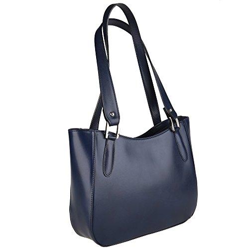 Sac En Bleu Borse Véritable 34x23x10 Italie Fabriqué Cm Bandoulière Femme Chicca Cuir À q7pTXwp5x