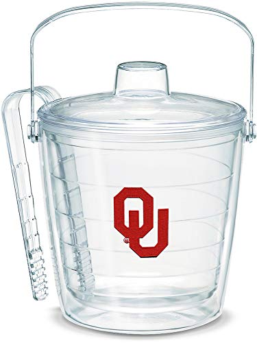 Tervis 1328460 Oklahoma Sooners Logo Insulated Ice Bucket and Tongs with Emblem and Clear Lid - Boxed, 87oz
