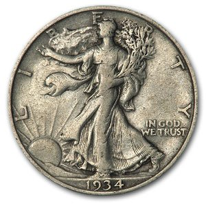 1934 Walking Liberty Half Dollar VG/VF Half Dollar Very Good