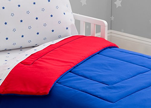 Toddler Bedding Set | Boys 4 Piece Collection | Fitted Sheet, Flat Top Sheet w/Elastic Bottom, Fitted Comforter w/Elastic Bottom, Pillowcase | Delta Children | Boys American | Red White Blue 3