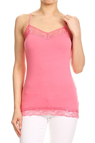 RouA 209S-4 Basic Long Tank with Lace Trim Top B,W,Kh,Pk (2x) by RouA (Image #4)