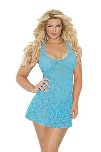 Plus Size Women's Lace Halter Mini Dress Lingerie Night Gown Sleepwear (Queen Size, ()