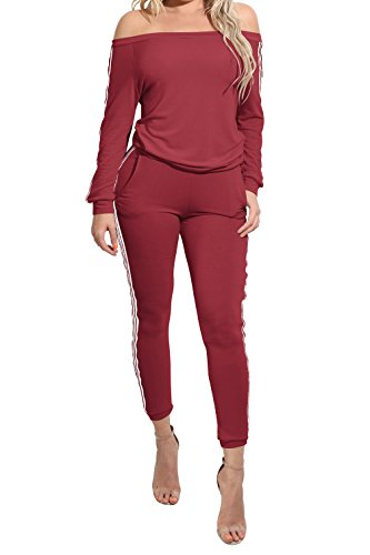 mywell TrinhGuo Womens Off Shoulder Sweatsuit Set Tracksuit Two Piece Outfits Wine L (Set Tracksuit)