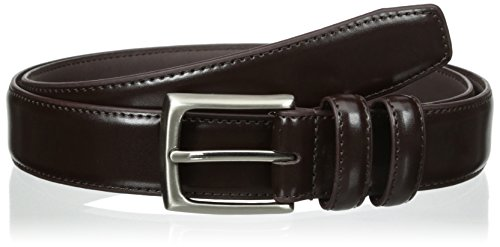 Alexander Julian Men's Big-Tall Double Loop Dress Belt, Brown, 38 - Brown Leather Belt Silver Buckle