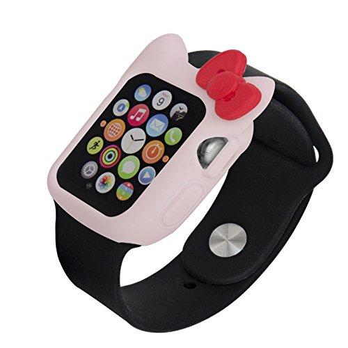Navor Soft Silicone Protective Cute Kitty Case Cover Case Compatible with Apple Watch 38mm Series 1/2/3-Light Pink-Red