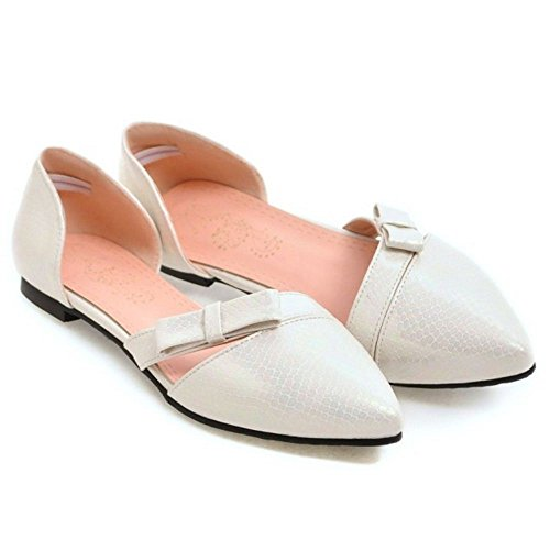 TAOFFEN Mujer Casual D'orsay sin Cordones Ballet Bowknot Plano Zapatos Blanco