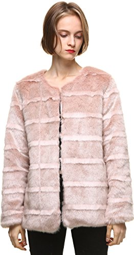 Classic Womens Mink Coat (vogueearth Women' Classic Long Sleeve Faux Fur Mink Autumn Winter Coat Jacket Pink)